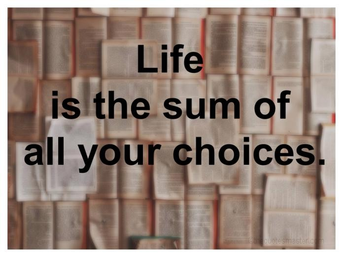 Life is sum of all choices picture quotes