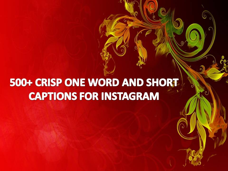 500+ Crisp One Word And Short Captions For Instagram