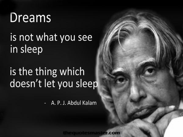 Motivational inspiring quotes from APJ Abdul Kalam