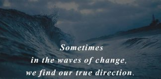 Sometimes in the waves of change,we find our true direction